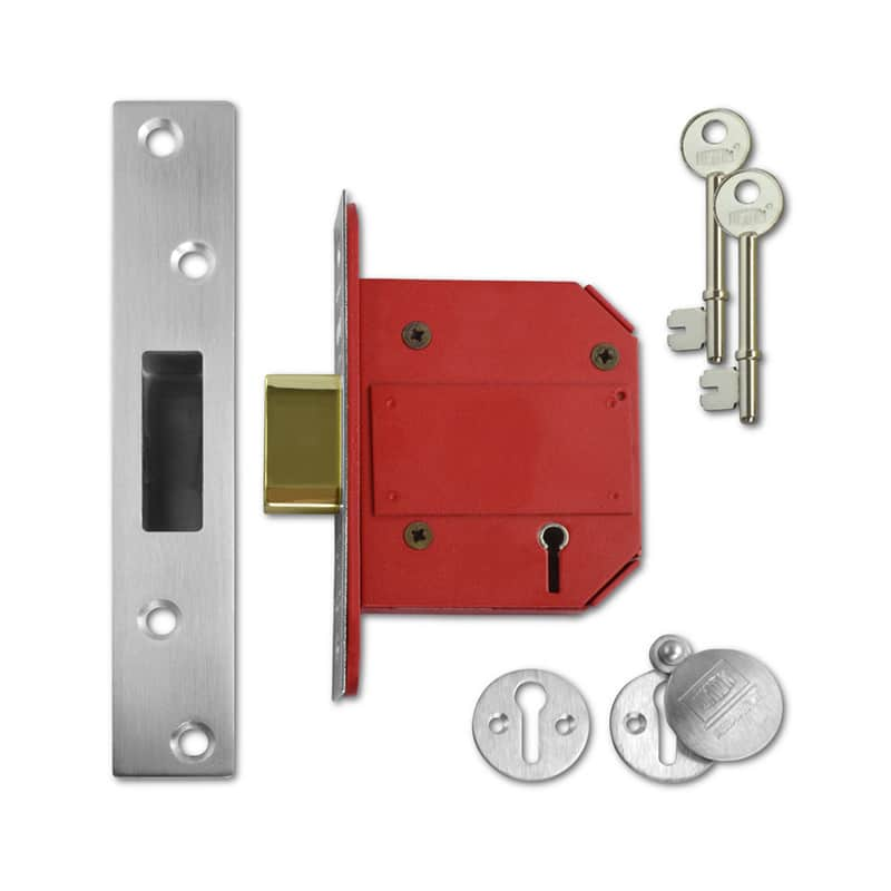UNION J2100S Strongbolt BS 5 Lever Deadlock 75mm SC KD Boxed