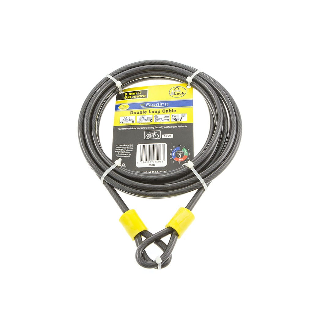 8mm x 5.0m Double Loop Steel Cable